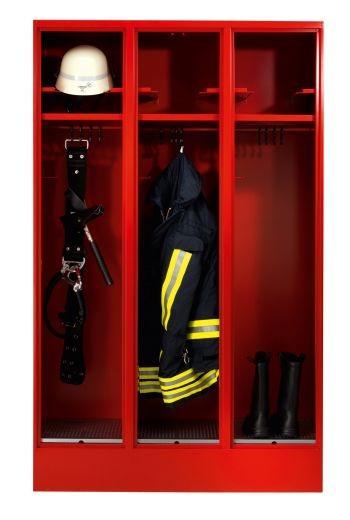 Feuerwehrschrank mit 3 Abteilen und Helmeinschubfach