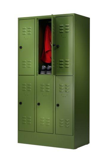 Garderobenschrank doppelt 3 Abteile auf Sockel