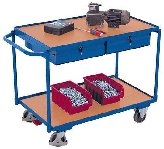 Tischwagen mit 2 Ladeflächen und 2 abschließbare Schubladen