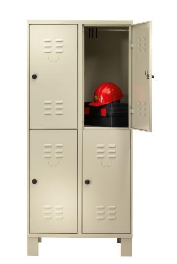 Garderobenschrank doppelt 4 Abteile auf Füßen