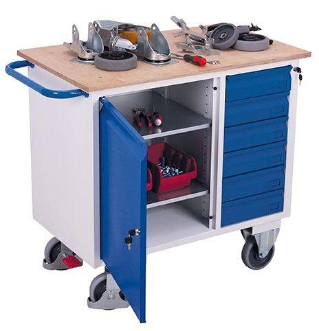 Werkstattwagen mit 1 Ladefläche, 1 Schrank und 6 Schubladen