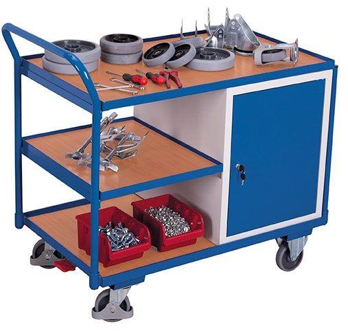 Werkstattwagen mit 3 Ladeflächen und 1 Schrank