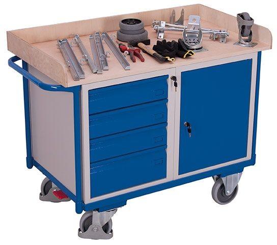 Werkstattwagen mit 1 Ladefläche, 1 Schrank, 4 Schubladen
