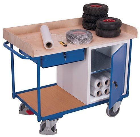 Werkstattwagen mit 2 Ladeflächen, 1 Schrank, 1 Schublade
