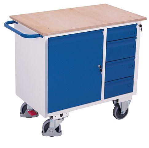 Werkstattwagen mit 1 Ladefläche 1 Schrank und 4 Schubladen