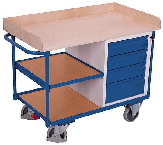 Werkstattwagen mit 3 Ladeflächen, 1 Schrank mit 4 Schubladen