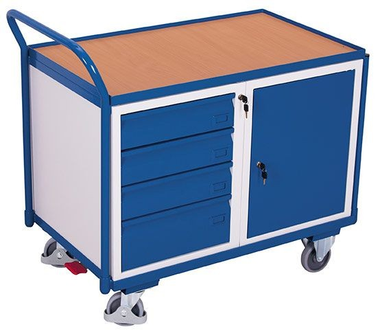 Werkstattwagen mit 1 Ladefläche, 1 Schrank und 4 Schubladen